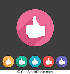 Flat style thumbs up icon for your game design.