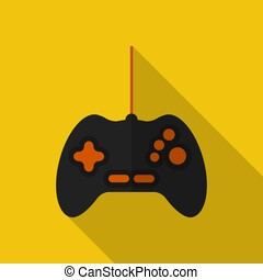 Flat gamepad with long shadow. Vector icon