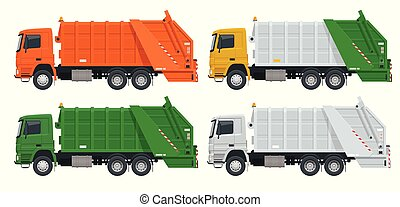 Flat Garbage truck. Garbage recycling and utilization equipment. City waste recycling concept with garbage truck