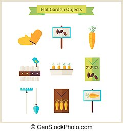 Flat Garden Objects Set
