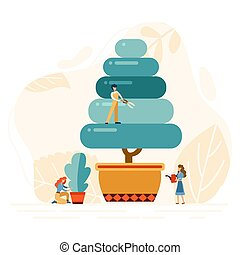 Flat garden workers trim the trees. Group people working with hedge clippers. Landscape design service background. Vector illustration