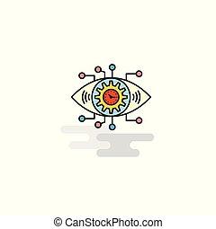Flat Gear eye Icon. Vector