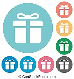 Flat gift icons - Flat gift icon set on round color...