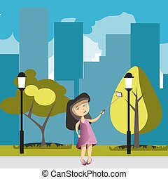 Flat girl with phone selfie in park