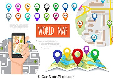 Flat global positioning system composition with male hand holding mobile with navigator colorful pointers and navigation maps vector illustration