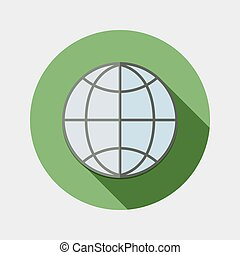 Flat globe for web browser icon