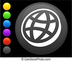 flat globe icon on round internet button