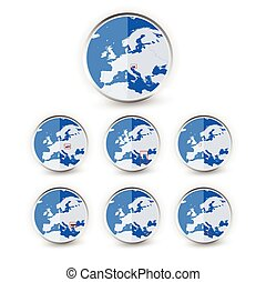 Flat Globe set with EU countries World Map Location Part 4