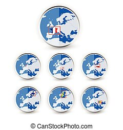 Flat Globe set with EU countries World Map Location Part 3