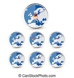 Flat Globe set with EU countries World Map Location Part 2