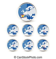Flat Globe set with EU countries World Map Location Part 1