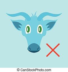 Flat goat head. livestock. animal grazing.