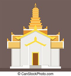 Flat gold Thai temple vector with brown background .Temple sign in simple vector illustration