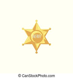 Flat golden sheriff badge isolated on white background
