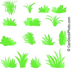 Flat grasses set vector. bush set with isolated white background