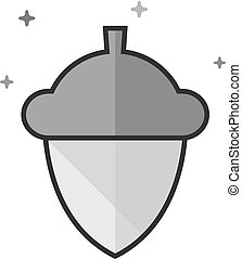 Flat Grayscale Icon - Acorn seed