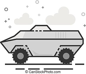 Flat Grayscale Icon - Armored vehicle