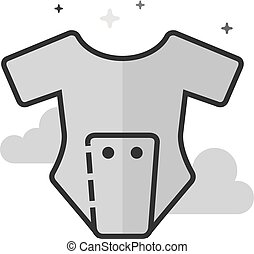 Flat Grayscale Icon - Baby clothes