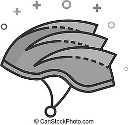Flat Grayscale Icon - Bicycle helmet - Bicycle helmet icon...