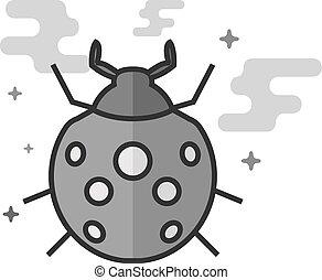 Flat Grayscale Icon - Bug