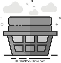 Flat Grayscale Icon - Clothes basket