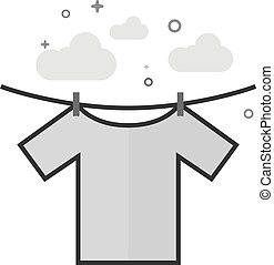 Flat Grayscale Icon - Clothes hang