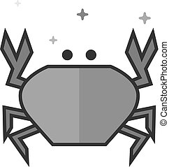 Flat Grayscale Icon - Crab