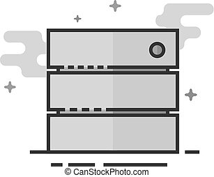 Flat Grayscale Icon - Database