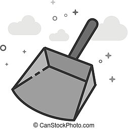 Flat Grayscale Icon - Dustpan - Dustpan icon in flat...