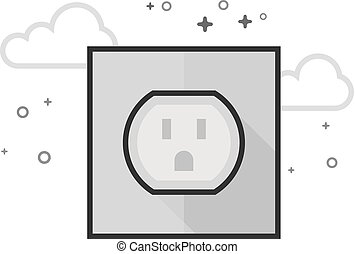 Flat Grayscale Icon - Electrical outlet
