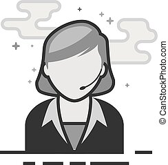 Flat Grayscale Icon - Female receptionist - Female...