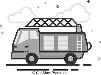 Flat Grayscale Icon - Fireman truck