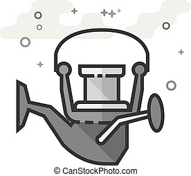 Flat Grayscale Icon - Fishing reel - Fishing reel icon in...