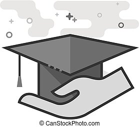 Flat Grayscale Icon - Hand holding diploma - Hand holding...