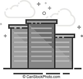 Flat Grayscale Icon - Hotel building
