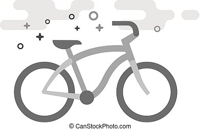Flat Grayscale Icon - Low rider bicycle - Low rider bicycle ...