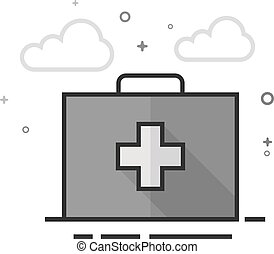 Medical case icon in flat outlined grayscale style. Vector illustration.
