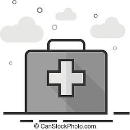 Vintage medical case icon in flat outlined grayscale style. Vector illustration.