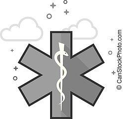 Flat Grayscale Icon - Medical symbol