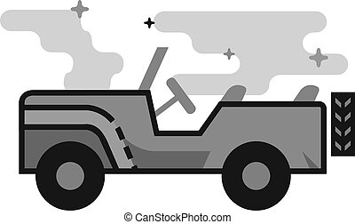 Flat Grayscale Icon - Military vehicle