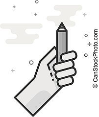 Pencil measure icon in flat outlined grayscale style. Vector illustration.