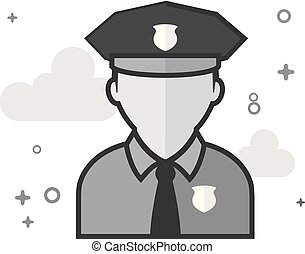 Flat Grayscale Icon - Police avatar
