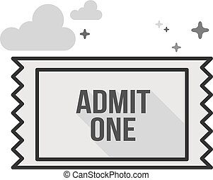 Flat Grayscale Icon - Ticket