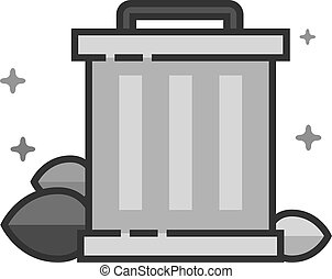 Flat Grayscale Icon - Trash bin
