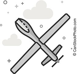 Flat Grayscale Icon - Unmanned aerial vehicle