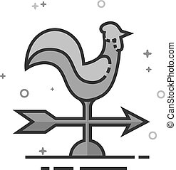 Flat Grayscale Icon - Wind vane - Wind vane icon in doodle...