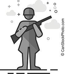 Flat Grayscale Icon - World War army - World War army icon...