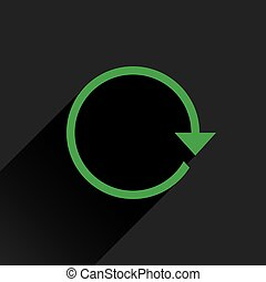 Flat green arrow icon refresh, rotation sign