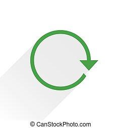 Flat green arrow icon refresh sign on white