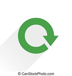Flat green arrow icon reload, refresh sign